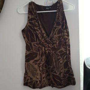 V neck brown and tan professional top